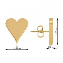Geometric Heart-Shape Stud Earrings 14k Yellow Gold