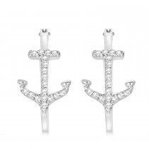 Diamond Anchor Hoop Earrings 14k White Gold (0.29ct)|escape