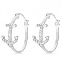 Diamond Anchor Hoop Earrings 14k White Gold (0.29ct)