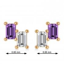 Bar Amethyst & Diamond Baguette Earrings 14k Rose Gold (1.30 ctw)