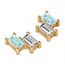 Bar Aquamarine & Diamond Baguette Earrings 14k Rose Gold (1.10 ctw)
