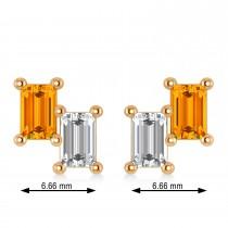 Bar Citrine & Diamond Baguette Earrings 14k Rose Gold (1.30 ctw)