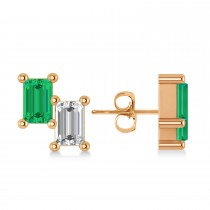 Bar Emerald & Diamond Baguette Earrings 14k Rose Gold (1.20 ctw)