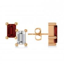 Bar Garnet & Diamond Baguette Earrings 14k Rose Gold (1.40 ctw)