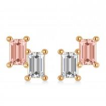 Bar Morganite & Diamond Baguette Earrings 14k Rose Gold (1.70 ctw)