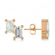 Bar Opal & Diamond Baguette Earrings 14k Rose Gold (1.20 ctw)