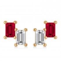 Bar Ruby & Diamond Baguette Earrings 14k Rose Gold (1.70 ctw)
