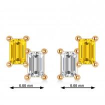 Bar Yellow Sapphire & Diamond Baguette Earrings 14k Rose Gold (1.70 ctw)