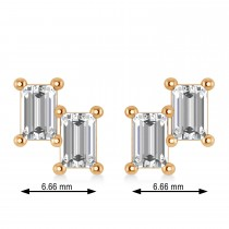 Bar Diamond Baguette Earrings 14k Rose Gold (1.20 ctw)