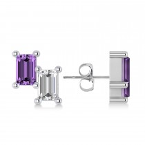 Bar Amethyst & Diamond Baguette Earrings 14k White Gold (1.30 ctw)