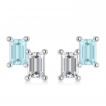 Bar Aquamarine & Diamond Baguette Earrings 14k White Gold (1.10 ctw)