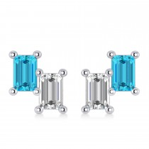 Bar Blue Diamond & Diamond Baguette Earrings 14k White Gold (1.20 ctw)