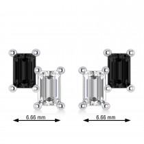 Bar Black Diamond & Diamond Baguette Earrings 14k White Gold (1.20 ctw)