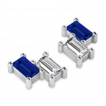 Bar Blue Sapphire & Diamond Baguette Earrings 14k White Gold (1.70 ctw)
