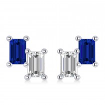 Bar Blue Sapphire & Diamond Baguette Earrings 14k White Gold (1.70 ctw)