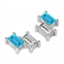 Bar Blue Topaz & Diamond Baguette Earrings 14k White Gold (1.40 ctw)