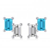 Bar Blue Topaz & Diamond Baguette Earrings 14k White Gold (1.40 ctw)