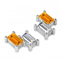 Bar Citrine & Diamond Baguette Earrings 14k White Gold (1.30 ctw)