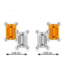 Bar Citrine & Diamond Baguette Earrings 14k White Gold (1.30 ctw)
