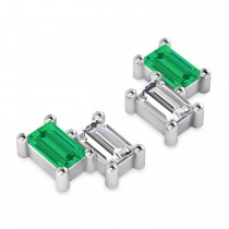 Bar Emerald & Diamond Baguette Earrings 14k White Gold (1.20 ctw)