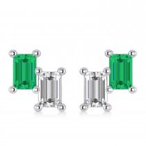 Bar Emerald & Diamond Baguette Earrings 14k White Gold (1.20 ctw)