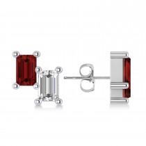 Bar Garnet & Diamond Baguette Earrings 14k White Gold (1.40 ctw)