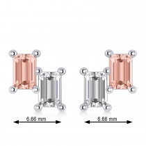 Bar Morganite & Diamond Baguette Earrings 14k White Gold (1.70 ctw)