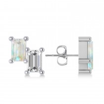 Bar Opal & Diamond Baguette Earrings 14k White Gold (1.20 ctw)