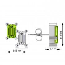Bar Peridot & Diamond Baguette Earrings 14k White Gold (1.30 ctw)
