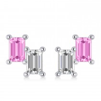 Bar Pink Sapphire & Diamond Baguette Earrings 14k White Gold (1.70 ctw)