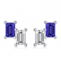Bar Tanzanite & Diamond Baguette Earrings 14k White Gold (1.36 ctw)
