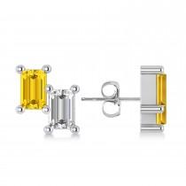Bar Yellow Sapphire & Diamond Baguette Earrings 14k White Gold (1.70 ctw)