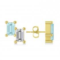 Bar Aquamarine & Diamond Baguette Earrings 14k Yellow Gold (1.10 ctw)