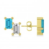 Bar Blue Diamond & Diamond Baguette Earrings 14k Yellow Gold (1.20 ctw)