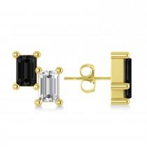 Bar Black Diamond & Diamond Baguette Earrings 14k Yellow Gold (1.00 ctw)