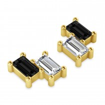 Bar Black Diamond & Diamond Baguette Earrings 14k Yellow Gold (1.00 ctw)|escape