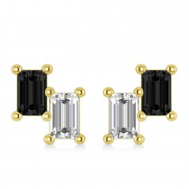 Bar Black Diamond & Diamond Baguette Earrings 14k Yellow Gold (1.20 ctw)