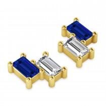Bar Blue Sapphire & Diamond Baguette Earrings 14k Yellow Gold (1.70 ctw)