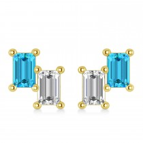 Bar Blue Topaz & Diamond Baguette Earrings 14k Yellow Gold (1.40 ctw)