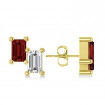 Bar Garnet & Diamond Baguette Earrings 14k Yellow Gold (1.40 ctw)