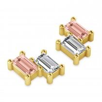 Bar Morganite & Diamond Baguette Earrings 14k Yellow Gold (1.70 ctw)
