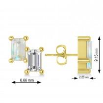 Bar Opal & Diamond Baguette Earrings 14k Yellow Gold (1.20 ctw)