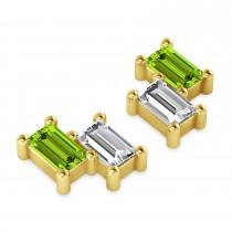 Bar Peridot & Diamond Baguette Earrings 14k Yellow Gold (1.30 ctw)
