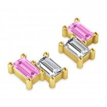 Bar Pink Sapphire & Diamond Baguette Earrings 14k Yellow Gold (1.70 ctw)