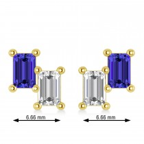 Bar Tanzanite & Diamond Baguette Earrings 14k Yellow Gold (1.36 ctw)