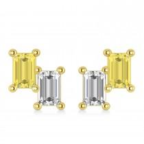 Bar Yellow Diamond & Diamond Baguette Earrings 14k Yellow Gold (1.20 ctw)