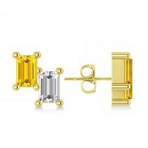 Bar Yellow Sapphire & Diamond Baguette Earrings 14k Yellow Gold (1.70 ctw)