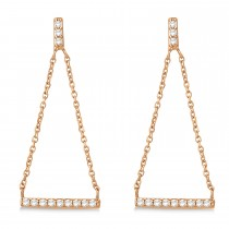 Diamond Horizontal Bar Drop Earrings 14k Rose Gold (0.25ct)