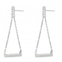 Diamond Horizontal Bar Drop Earrings 14k White Gold (0.25ct)