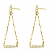 Diamond Horizontal Bar Drop Earrings 14k Yellow Gold (0.25ct)